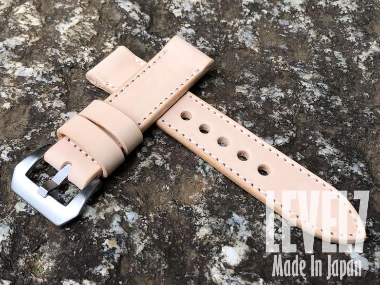 【日本製/Made In Japan】幅22MM/24MM対応 パネライスタイル ナチュラル ヌメ革/レザーベルト バックル付き 腕時計 替えベルト SP-H002-S