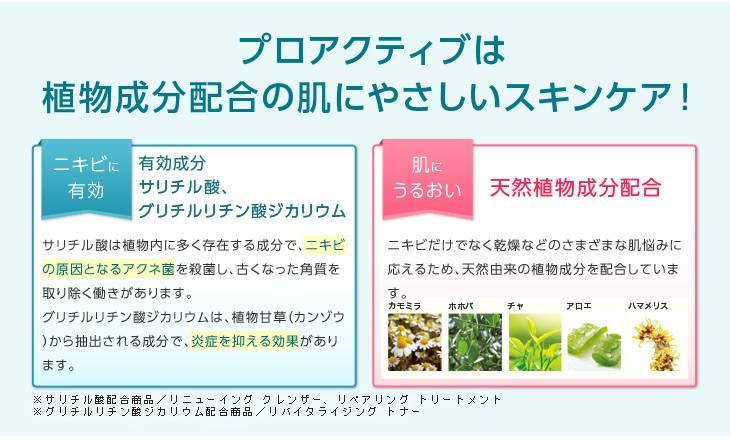 プロアクティブは植物成分配合の肌にやさしいスキンケア!