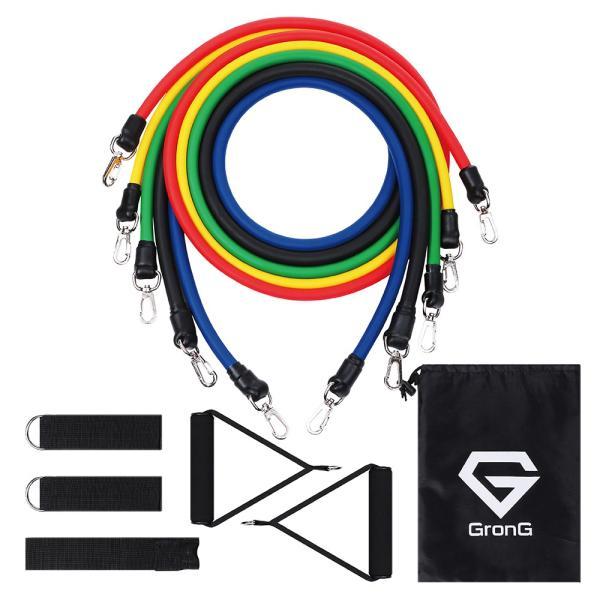 GronG トレーニングチューブ フィットネスチューブ エクササイズバンド 強度別5本セット|grong|08