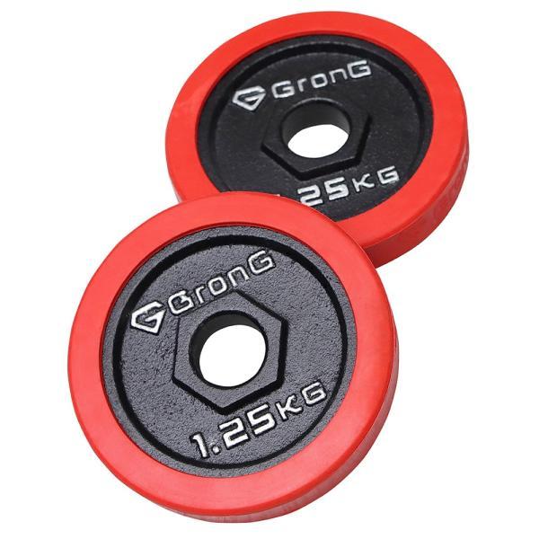 GronG アイアンダンベル プレート 追加 セット バーベル 1.25kg×2 計2.5kg ラバー付き シャフト径28mm|grong|05