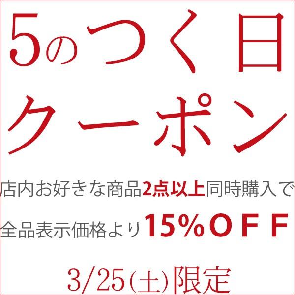 【5のつく日】24時間限定!何と2点以上同時購入で表示価格から全品15%OFFになるクーポンです!