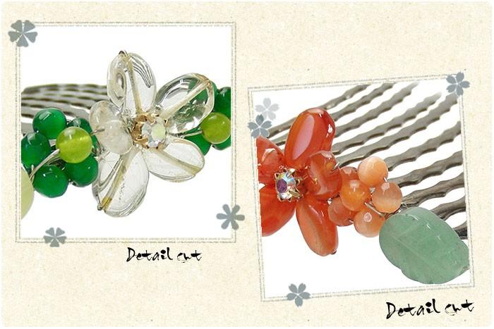 振袖、留袖のまとめ髪には、天然石のお花コームが人気