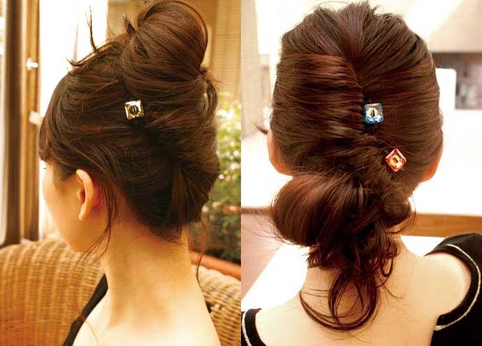 華やかなまとめ髪をさらに豪華にしてくれるクリスタルヘアピン