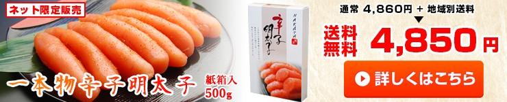 【送料無料 一本物 辛子明太子 500g】