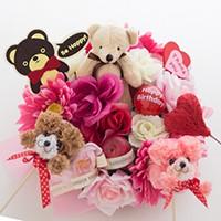 フラワーギフト,誕生日プレゼント,花,お祝い,フラワーアレンジメント,造花メッセージピック,花ここ