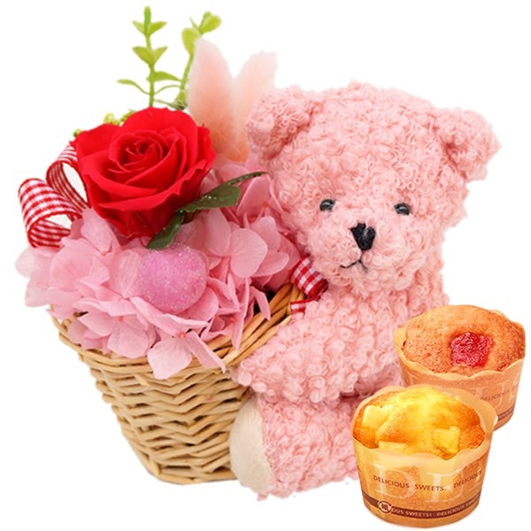 母の日プレゼント 花 ギフト 2019 プリザーブドフラワー お菓子 花とスイーツ 写真立て 薔薇 hana-collabo 20