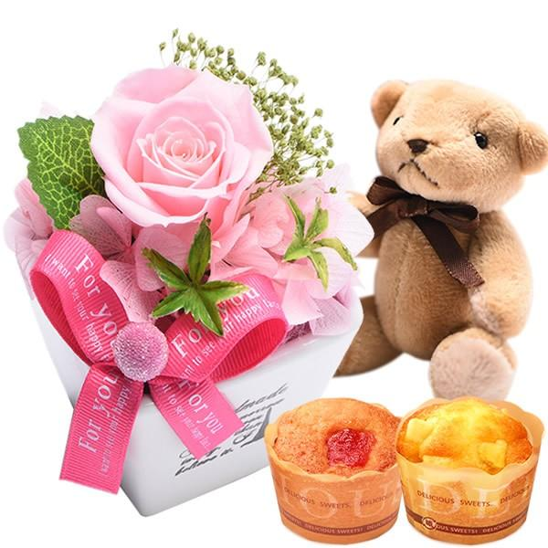 母の日プレゼント 花 ギフト 2019 プリザーブドフラワー お菓子 花とスイーツ 写真立て 薔薇 hana-collabo 17