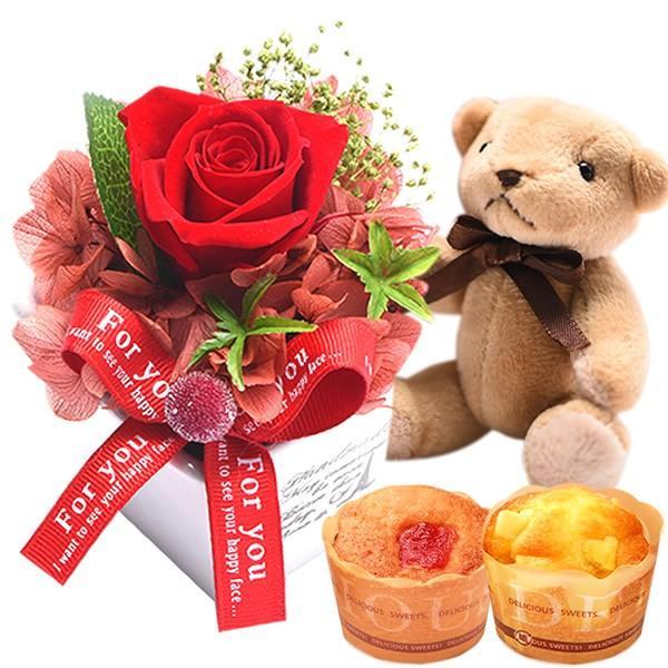 母の日プレゼント 花 ギフト 2019 プリザーブドフラワー お菓子 花とスイーツ 写真立て 薔薇 hana-collabo 16