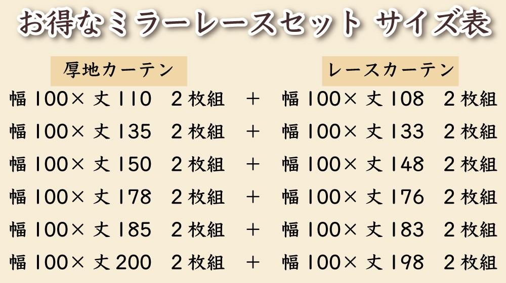 お得なミラーレースセットのサイズ表