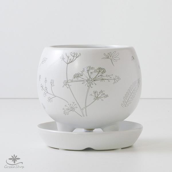 プランター おしゃれ 植木鉢 植物柄のまあるい足つきプランター 3号 受け皿付|hana-kazaru|07