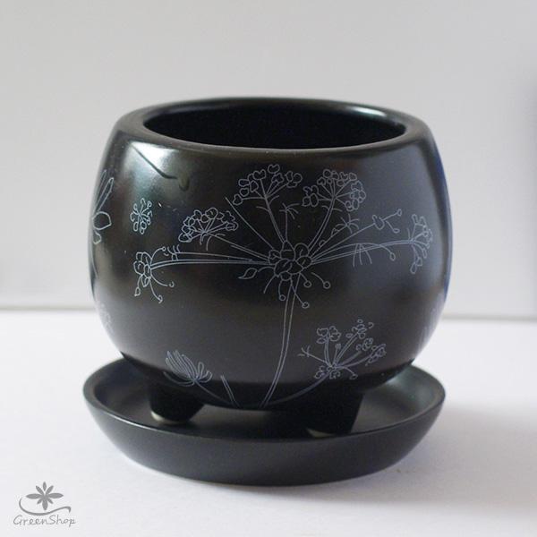 プランター おしゃれ 植木鉢 植物柄のまあるい足つきプランター 3号 受け皿付|hana-kazaru|08