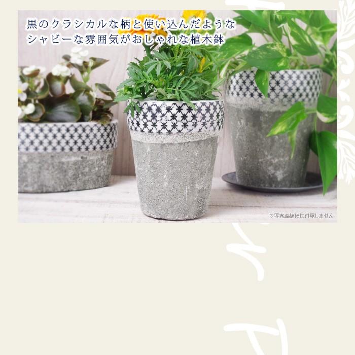 黒のクラシカルな柄と使い込んだようなシャビーな雰囲気がおしゃれな植木鉢