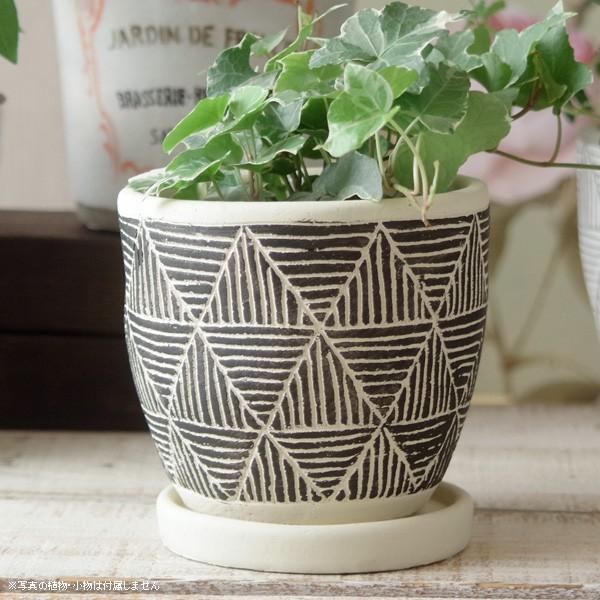 プランター おしゃれ 植木鉢 トライアングルレリーフポット 約4号 hana-kazaru 16
