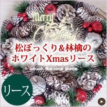 松ぼっくりと真っ赤な林檎のホワイトクリスマスリース