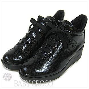 ルコライン靴(アージレ) ウォーキングシューズRUCO LINE靴ベビークロコ NO.112bk ファスナー付き