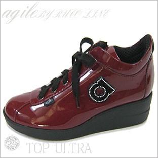 ルコライン靴(アージレ) 2020年 新作 限定品 エナメル スニーカー RUCO LINE靴 NO.128WI(ワイン) ファスナー付き