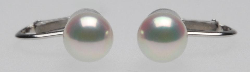オーロラ天女 花珠 アコヤ真珠イヤリング(またはピアス) P10879 アップ