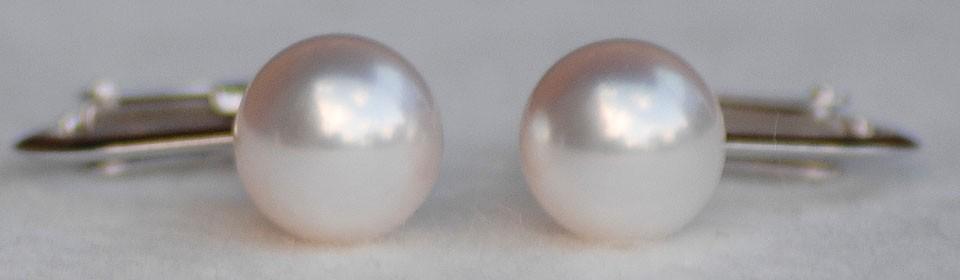 オーロラ花珠 アコヤ真珠イヤリング(またはピアス) S438220 自然光撮影