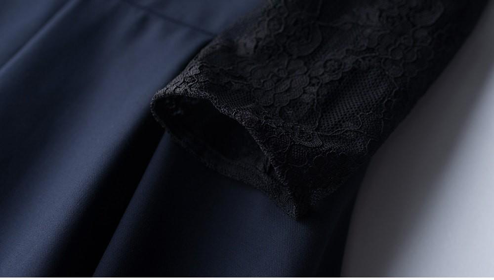 パーティードレス ワンピース レース 膝丈 膝下 レース袖 杏 藍 黒 アプリコット ブラック ネイビー 大きいサイズ 20代 30代 40代 人気 結婚式 二次会 演奏会 成人式 謝恩会 披露宴 おすすめ かわいい 可愛い