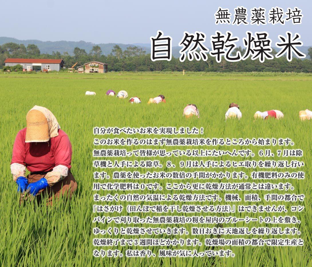 あきたこまち無農薬栽培自然乾燥米