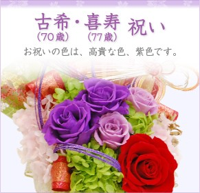 喜寿(77歳)祝いのプリザーブドフラワー