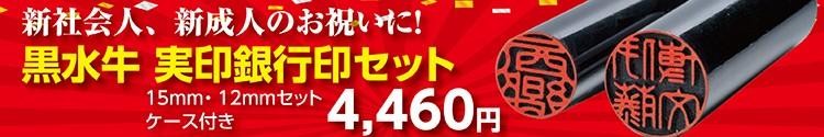 個人実印・銀行印『黒水牛15・12mm2本セット』3900円 毎日5セット限り!