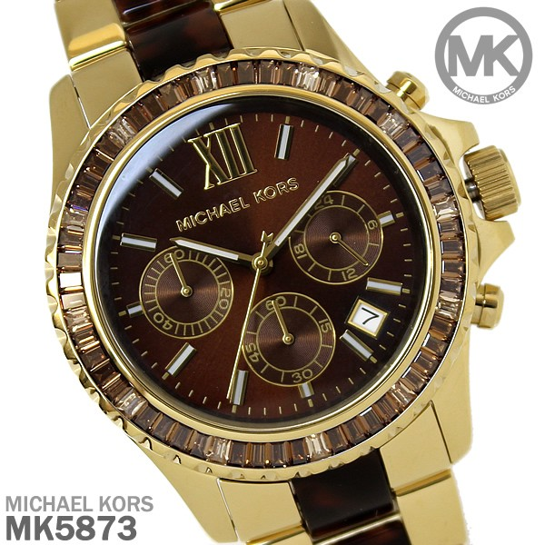03a706fd3cda ... マイケルコース Oversize Tortoise Golden オーバーサイズ タートイズ×ゴールド レディース 腕時計