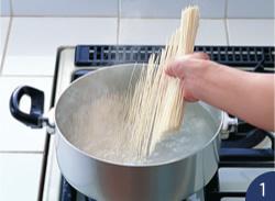 (1).熱湯に麺を入れる