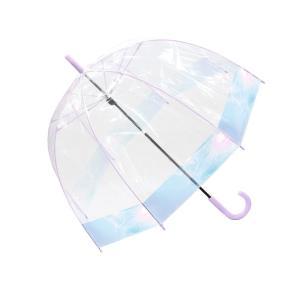 傘 長傘 ビニール傘 かわいい レディース 長傘 65cm ドーム型 オーロラ 丈夫 かわいい ドーム 耐風 パステル グラスファイバー|hauhau