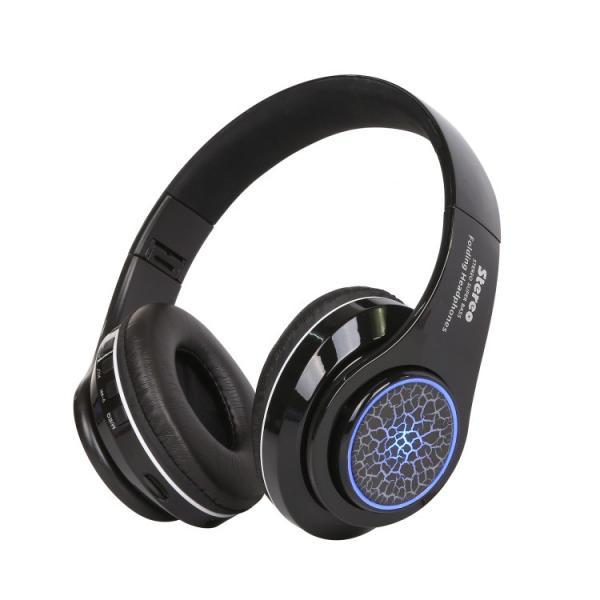 Bluetoothワイヤレス ヘッドホン/ヘッドフォン Squid 折りたたみ式 通話機能 有線接続可 LEDTYPE|hfs05|08