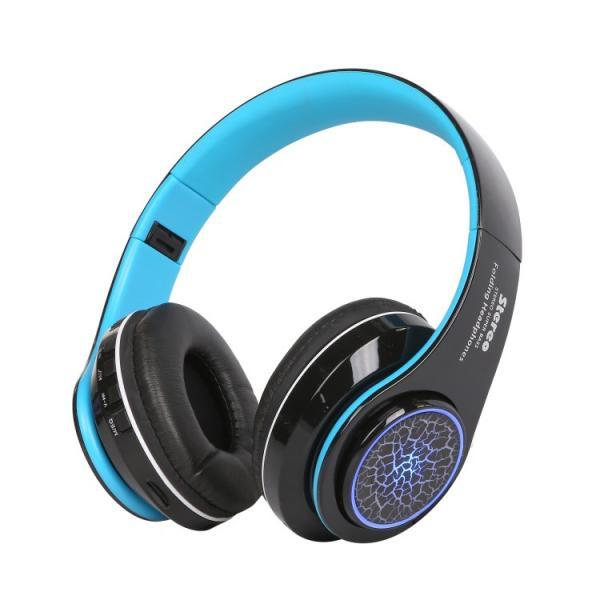 Bluetoothワイヤレス ヘッドホン/ヘッドフォン Squid 折りたたみ式 通話機能 有線接続可 LEDTYPE|hfs05|09