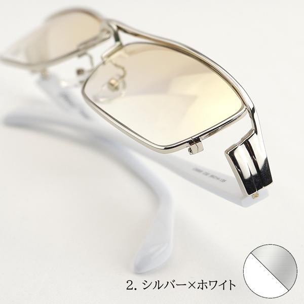 サングラス ミラーレンズ 度付きメガネ トラックドライバー 薄い色 ちょい悪 メンズ 大きいサイズ 白フレーム 幻剣 バイク ドライブ UVカット|hidetora|17