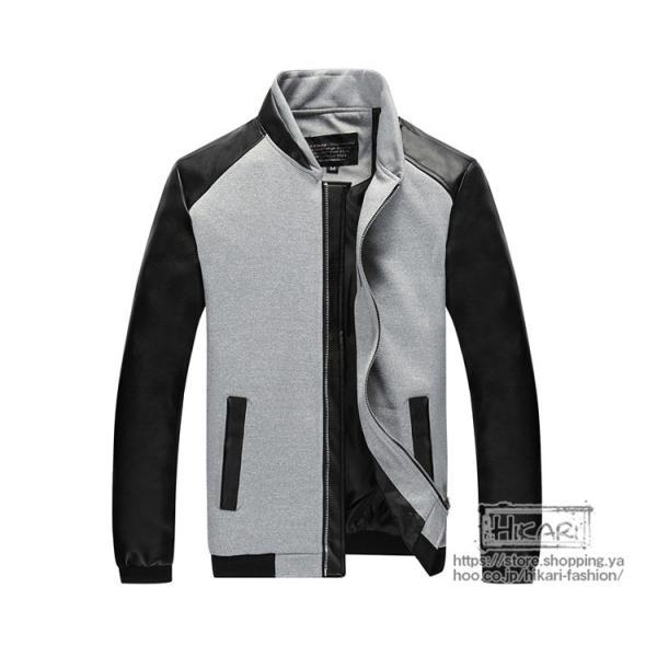 スタジャン メンズ ライダースジャケット 切り替え ジャケット スタジアムジャンパー バイクウェア 立ち襟 秋物 hikari-fashion 22
