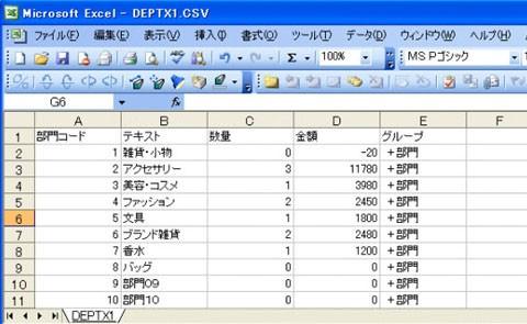 売上データ CSV形式