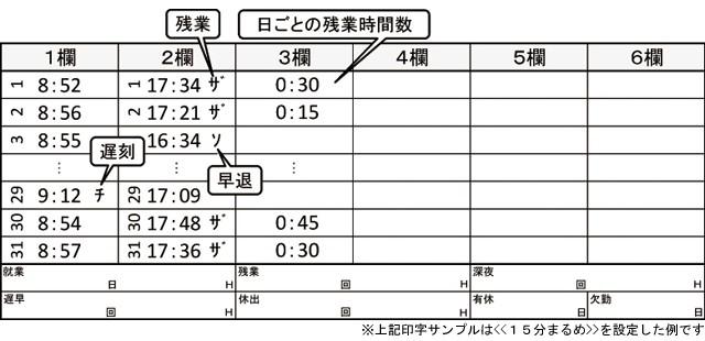 日毎計算(残業時間計算)印字例