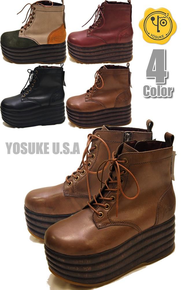 YOSUKE ヨースケ本革 厚底ショートブーツ レースアップ