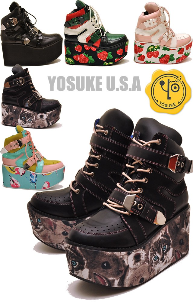 YOSUKE U.S.A ヨースケ ボタニカルプリント ペット柄 猫 うさぎ 犬 プリント プラットフォーム 厚底スニーカーブーツ