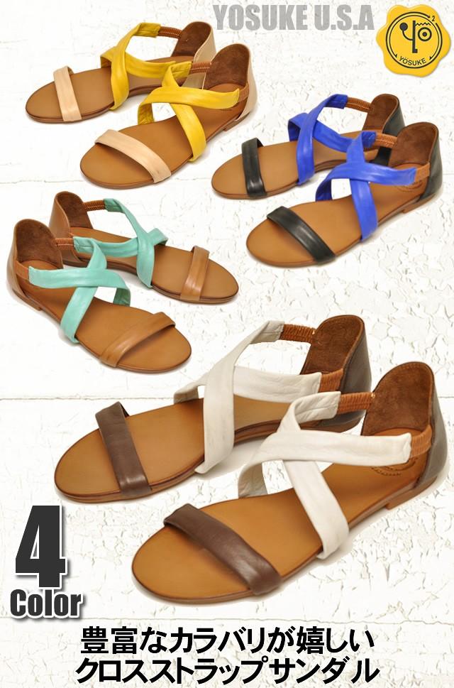 YOSUKE U.S.A ヨースケ  本革オープントゥサンダル 靴