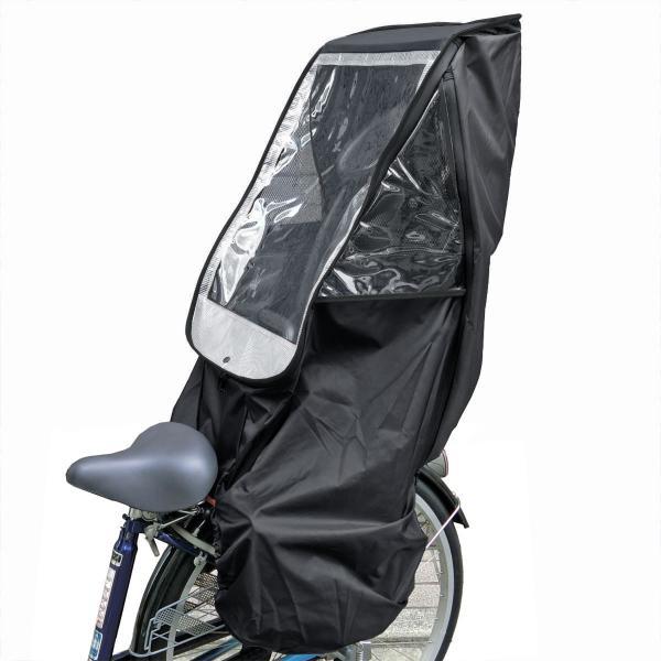 自転車 子供乗せ チャイルドシート レインカバー HIRO 日本製 後ろ用 リア用  送料無料 ブラック ベース 透明シート強化・撥水加工 SCC-1807-BK-02|hiroaandk|10
