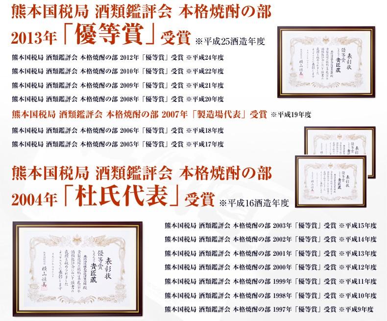 熊本国税局種類鑑評会で累計16年受賞