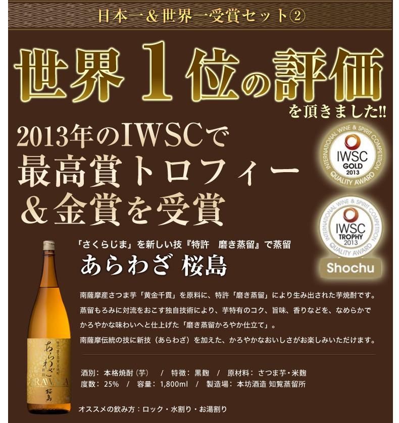 あらわざ桜島はIWSCで最高賞トロフィー&金賞を受賞した世界一の評価