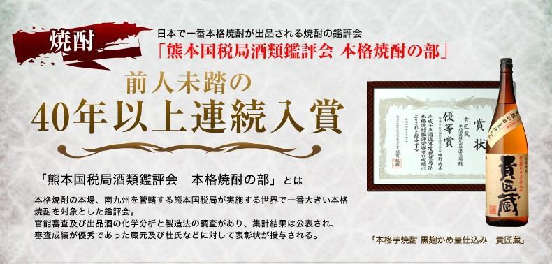 本坊酒造の焼酎は40年以上の連続受賞