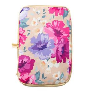 圧縮バッグ トラベルポーチ かわいい ファスナー式 花柄 パープル アイボリー|homegoody-wg|11