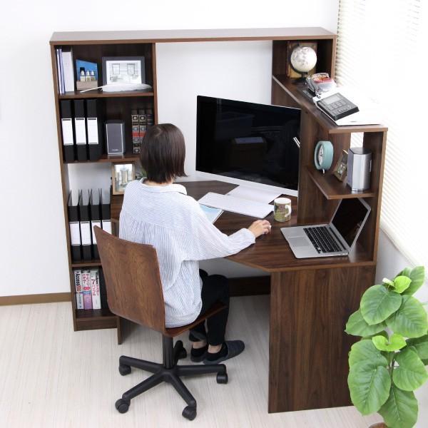 パソコンデスク l字 L字型 コーナー 幅125cm 幅100cm 収納 ブラウン 机 オフィスデスク リモートワーク テレワーク 在宅勤務 ホームオフィス PD001|homestyle|21