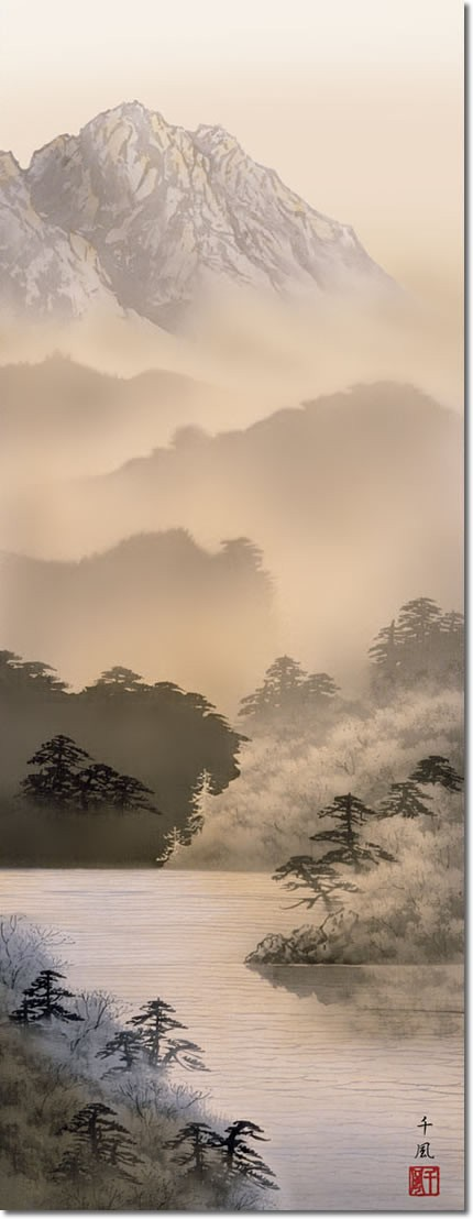 水墨山水画 掛軸-湖畔黎明/熊谷千風(尺三)床の間 和室 御洒落 モダン 飾り 表装 日本製 インテリア 掛け軸
