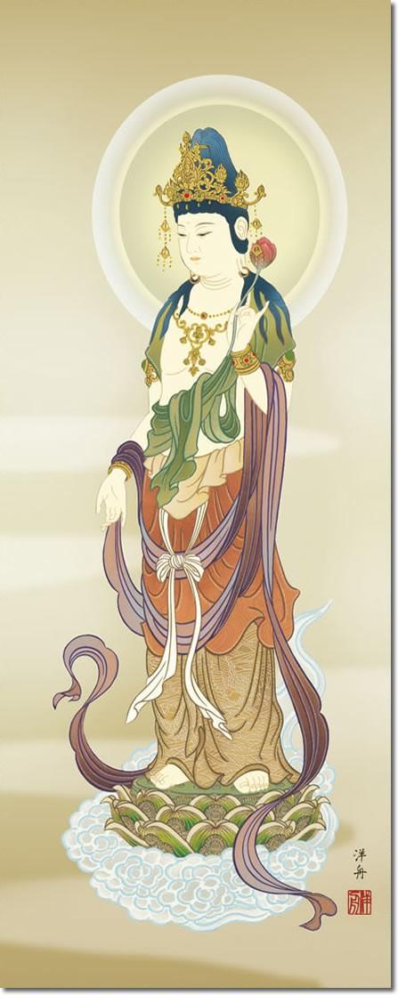 仏事用掛軸-雲上観音/小野洋舟(尺三)床の間 掛け軸 モダン オシャレ 高級 日本製 表装 吊るし インテリア 飾り 菩薩