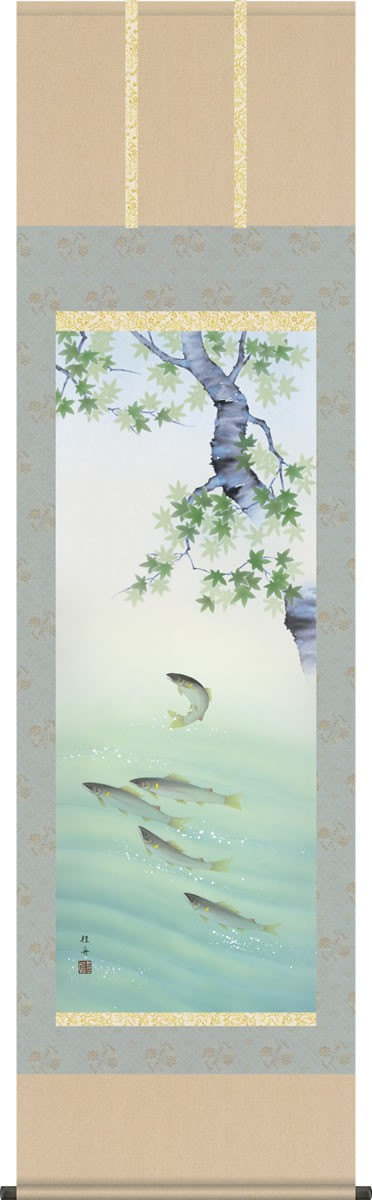 掛け軸-楓に鮎/長江桂舟(尺五・桐箱・風鎮付き)花鳥画掛軸