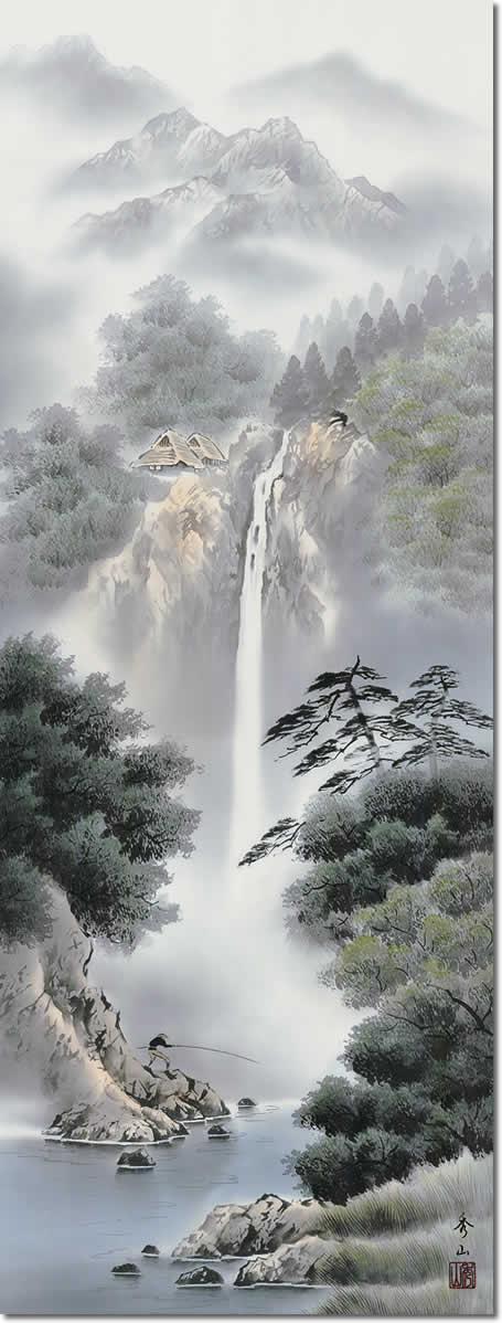掛け軸-幽山渓谷/鈴村秀山 (尺五・桐箱・風鎮付き)