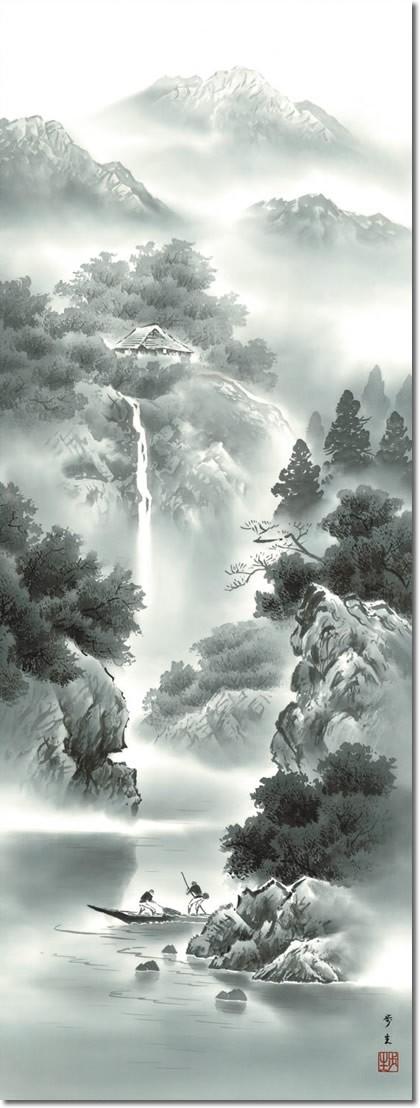 掛け軸 掛軸-【H30】蒼山水明/北山 歩生(尺五・桐箱・風鎮付)和室、床の間に山水画掛け軸を飾る