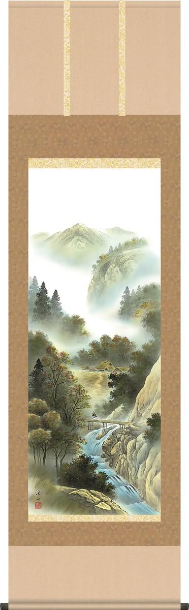 掛け軸-四季賞翫(秋)/伊藤渓山(尺五・桐箱・風鎮付き)山水画掛軸